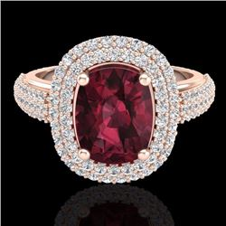 Natural 3.10 CTW Garnet & Micro Pave Diamond Certified Halo Ring 10K Rose Gold - 20711-REF#-75T2K