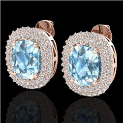 Natural 6 CTW Sky Blue Topaz & Micro Pave Diamond Certified Halo Earrings 10K Rose Gold - 20111-REF#