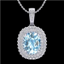 Natural 3 CTW Blue Topaz & Micro Pave Diamond Certified Halo Necklace 10K White Gold - 20405-REF#-41