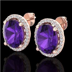 Natural 5 CTW Amethyst & Micro Pave Diamond Certified Earrings Halo 14K Rose Gold - 21041-REF#-50N8A