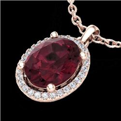 Natural 2.50 CTW Garnet & Micro Pave Diamond Certified Necklace Halo 14K Rose Gold - 21080-REF#-34R2
