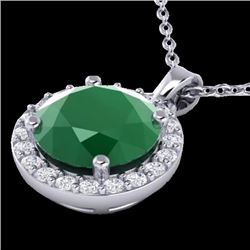 Natural 2 CTW Emerald & Halo Diamond Micro Pave Necklace Solitaire 18K White Gold - 21560-REF#-36M8F