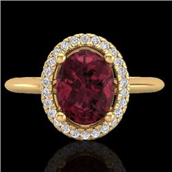 Natural 1.75 CTW Garnet & Micro Pave Diamond Bridal Ring Solitaire Halo 18K Yellow Gold - 21013-REF#