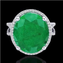 Natural 12 CTW Emerald & Micro Pave Diamond Certified Halo Ring 18K White Gold - 20960-REF#-95X3T