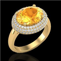 Natural 4 CTW Citrine & Micro Pave Diamond Certified Ring 18K Yellow Gold - 20912-REF#-69N4A