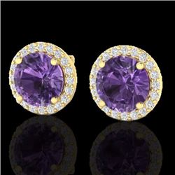 Natural 4 CTW Amethyst & Halo Diamond Micro Pave Earrings Solitaire 18K Yellow Gold - 21478-REF#-50H