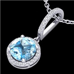 Natural 2.75 CTW Sky Blue Topaz & Micro Pave Diamond Certified Necklace  18K White Gold - 23200-REF#