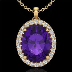 Natural 2.75 CTW Amethyst & Micro Diamond Halo Solitaire Necklace 18K Yellow Gold - 20577-REF#-42R5H