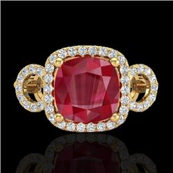 Natural 3.15 CTW Ruby & Micro Diamond Certified Ring 18K Yellow Gold - 23009-REF#-69R2H