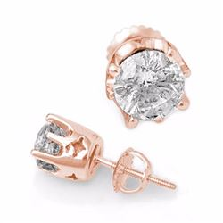 Genuine 2.0 ctw Diamond Solitaire Stud Earrings 14K Rose Gold - 11161-#440A8N