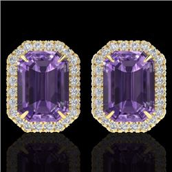 Natural 9.40 CTW Amethyst & Micro Pave Diamond Certified Halo Earrings 18K Yellow Gold - 21217-REF#-