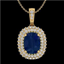 Natural 3.15 CTW Sapphire & Micro Pave Diamond Certified Halo Necklace 18K Yellow Gold - 20420-REF#-