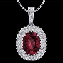 Natural 2.60 CTW Garnet & Micro Pave Diamond Certified Halo Necklace 10K White Gold - 20408-REF#-40W