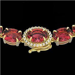 Natural 66 CTW Pink Tourmaline & Diamond Tennis Micro Halo Necklace 14K Yellow Gold - 23474-REF#-463