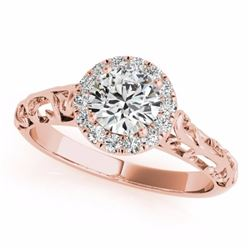 0.62 CTW Certified SI-I Diamond Solitaire Bridal Antique Ring 18K Rose - 27325-#88T5Z