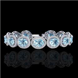 Natural 22 CTW Sky Blue Topaz & Micro Pave Diamond Certified Bracelet 10K White Gold - 22699-REF#-21