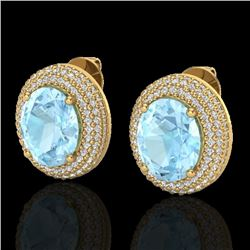 Natural 8 CTW Aquamarine & Micro Pave Diamond Certified Earrings 18K Yellow Gold - 20216-REF#-149H5M
