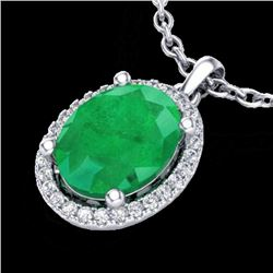 Natural 3 CTW Emerald & Micro Pave Diamond Certified Necklace Halo 18K White Gold - 21078-REF#-39X5T