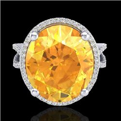 Natural 10 CTW Citrine & Micro Pave Diamond Certified Halo Ring 18K White Gold - 20958-REF#-78G2N