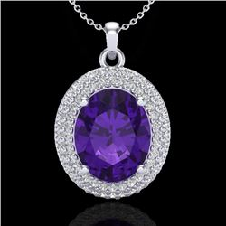 Natural 4 CTW Amethyst & Micro Pave Diamond Certified Necklace 18K White Gold - 20551-REF#-64G2N