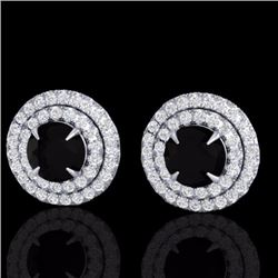 Natural 2 CTW Micro Pave Diamond Certified Stud Earrings Double Halo 18K White Gold - 21465-REF#-87T
