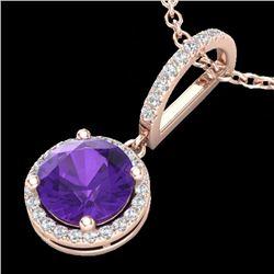 Natural 2 CTW Amethyst & Micro Pave Diamond Necklace Designer Halo 14K Rose Gold - 23190-REF#-29H2M
