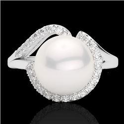 Natural .27 CTW Diamond Certified & White Pearl Designer Ring 18K White Gold - 22622-REF#-42X3T
