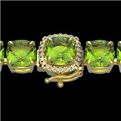 Natural 40 CTW Peridot & Micro Pave Diamond Halo Bracelet 14K Yellow Gold - 23318-REF#-203T4K