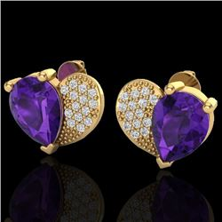 Natural 2.50 CTW Amethyst & Micro Pave Diamond Certified Earrings 10K Yellow Gold - 20065-REF#-25N5A
