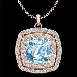 Natural 1.50 CTW Sky Blue Topaz & Micro Pave Diamond Halo Necklace 14K Rose Gold - 20448-REF#-45R2H