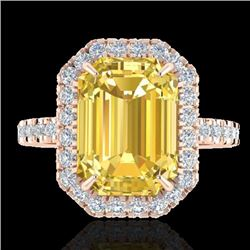 Natural 4.50 CTW Citrine & Micro Pave Diamond Certified Halo Ring 14K Rose Gold - 21422-REF#-49W2G
