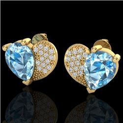 Natural 2.50 CTW Sky Blue Topaz & Micro Pave Diamond Certified Earrings 10K Yellow Gold - 20068-REF#