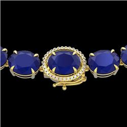 Natural 127 CTW Sapphire & Diamond Halo Micro Solitaire Necklace 14K Yellow Gold - 22315-REF#-442W8G