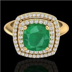 Natural 1.50 CTW Emerald & Micro Diamond Certified Pave Halo Ring 18K Yellow Gold - 20760-REF#-69A5X