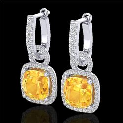 Natural 7 CTW Citrine & Micro Pave Diamond Certified Earrings 18K White Gold - 22958-REF#-87W5G
