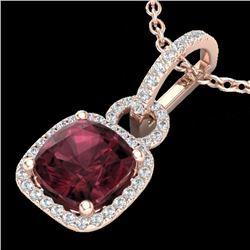 Natural 3.50 CTW Garnet & Micro Diamond Certified Necklace 14K Rose Gold - 22984-REF#-40X3T
