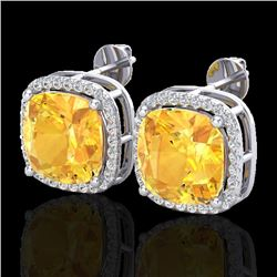 Natural 12 CTW Citrine & Micro Pave Halo Diamond Earrings Solitaire 18K White Gold - 23058-REF#-76A8