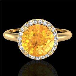Natural 2 CTW Citrine & Micro Diamond Certified Ring Designer Halo 18K Yellow Gold - 23208-REF#-44F3