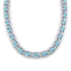 46.50 CTW SKY BLUE TOPAZ & DIAMOND SI-I CERTIFIED ETERNITY TENNIS NECKLACE - 29438-#190Y8V