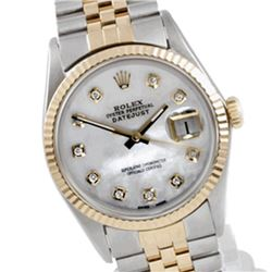 Pre-owned Excellent Condition Authentic Rolex Quickset Men's 18K/Stainless Steel DateJust Mother of