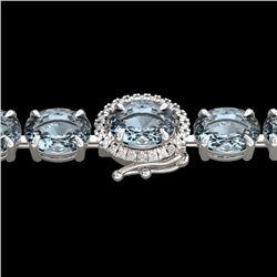 Natural 26 CTW Aquamarine & Diamond Eternity Tennis Micro Halo Bracelet 14K White Gold - 23415-REF#-