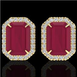 Natural 10.40 CTW Ruby & Micro Pave Diamond Certified Halo Earrings 18K Yellow Gold - 21232-REF#-76M