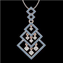 Natural 1.50 CTW Micro Blue & White Diamond Necklace Dangling Designer 14K Rose Gold - 22492-REF#-11