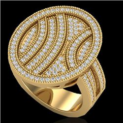 Natural 1.25 CTW Micro Pave Diamond Certified Ring 14K Yellow Gold - 20877-REF#-89W3G
