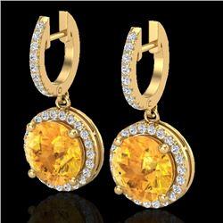 Natural 4 CTW Citrine & Micro Pave Diamond Certified Designer Halo 18K Yellow Gold - 23180-REF#-63F5