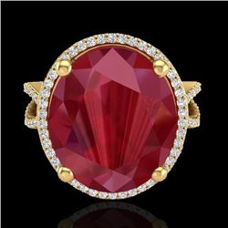 Natural 12 CTW Ruby & Micro Pave Diamond Certified Halo Ring 18K Yellow Gold - 20966-REF#-95M3F