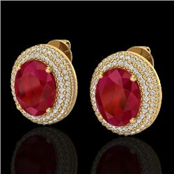 Natural 9.20 CTW Ruby & Micro Pave Diamond Certified Earrings 18K Yellow Gold - 20233-REF#-129N5A