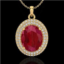 Natural 4.50 CTW Ruby & Micro Pave Diamond Certified Necklace 18K Yellow Gold - 20572-REF#-78A5X