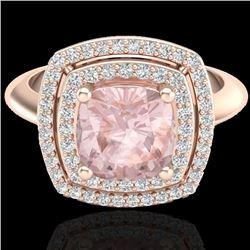 Natural 1.50 CTW Morganite & Micro Diamond Certified Pave Halo Ring 14K Rose Gold - 20764-REF#-65K3W