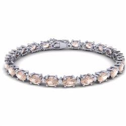 21.20 CTW MORGANITE & DIAMOND SI-I CERTIFIED ETERNITY TENNIS BRACELET - 29455-#300Z2M